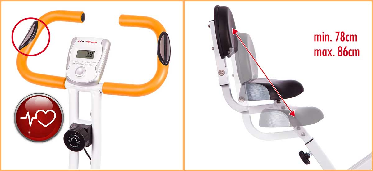 Bicicleta estática plegable Ultrasport F-Bike 150/200B info